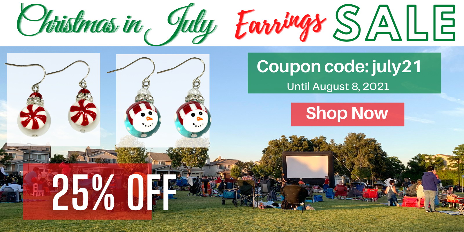 fiona Painted Christmas in July Earrings 25% OFF SALE