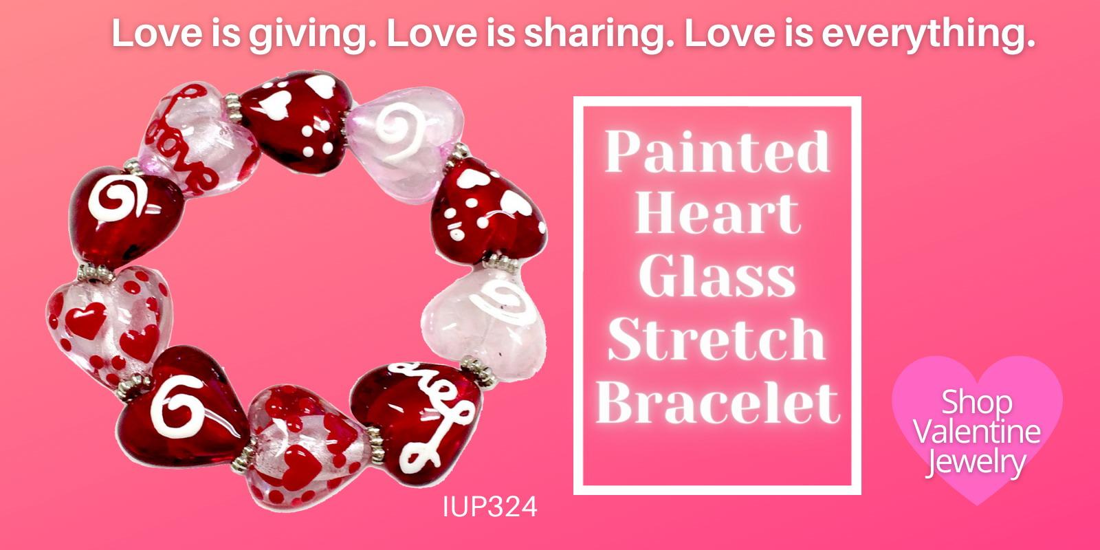 Valentine Jewelry, Hearts Jewelry, Glass Beaded Bracelet, Hand Painted